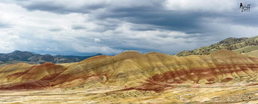 Panoramic View of the Painted Hills from the Overlook Trail photographed by Jeff Wendorff