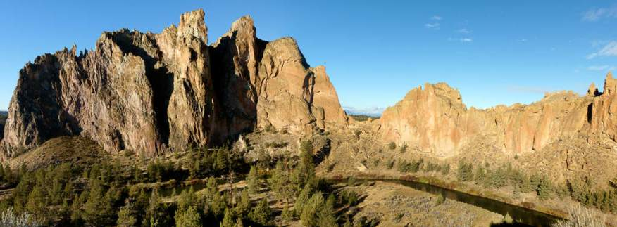 Panoramic view of Smith Rock taken near the visitor center by Jeff Wendorff