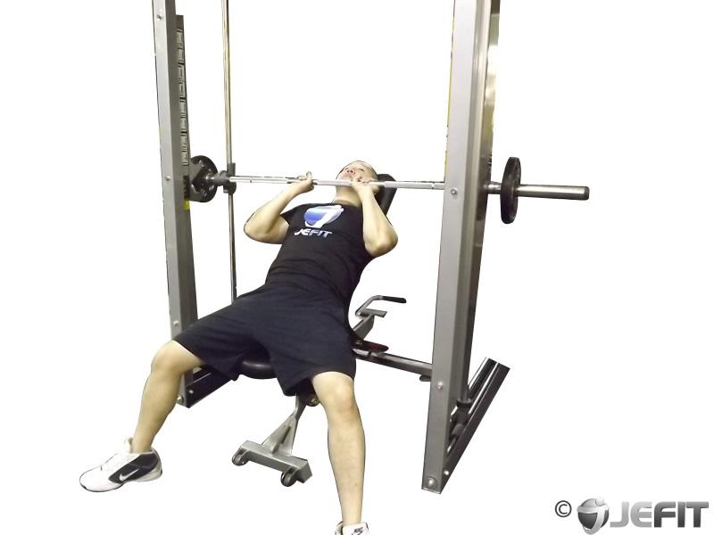 Smith Machine Close Grip Shoulder Press Exercise
