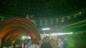 The scene as we entered the Superdome. A sound stage and food/alcohol stations circled the screened seating area.