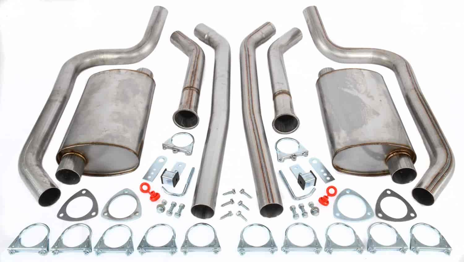 jegs header back dual 2 1 2 in exhaust kit 409 stainless steel
