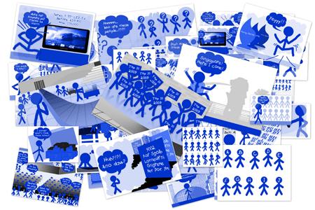 2008 Blue Stickman Doodles