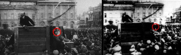 lenin addressing the troops, trotsky photoshopped out