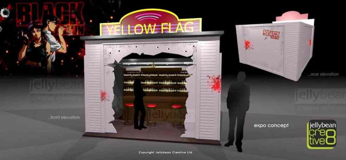 Black Lagoon Yellow Flag Bar Exhibition Stand Design