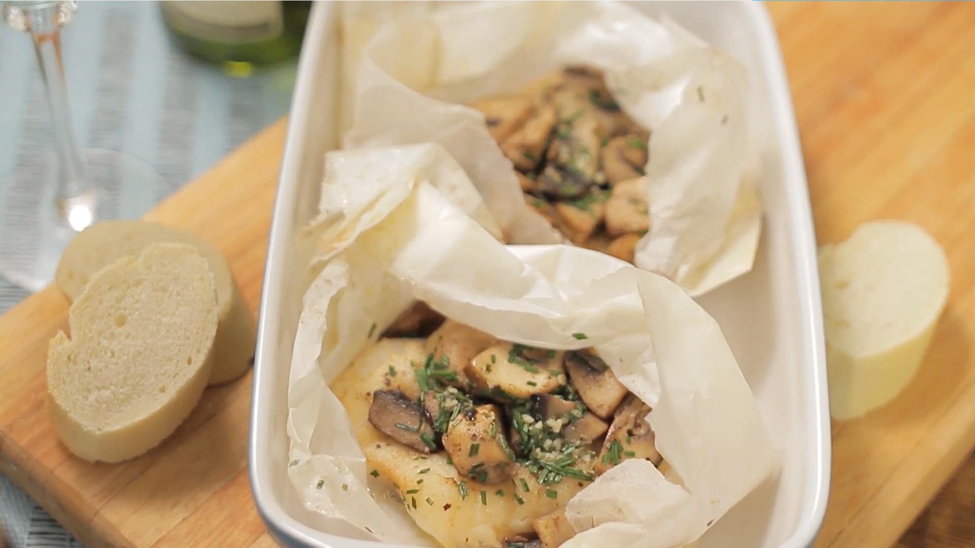 Hake & Mushrooms Baked in Paper