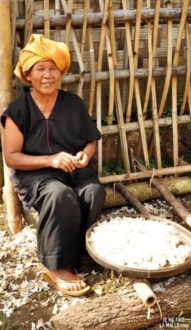 Egrainage de riz