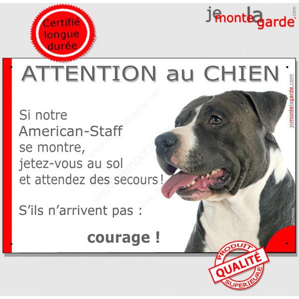 am staff noir et blanc tete panneau attention au chien marrant affiche plaque drole