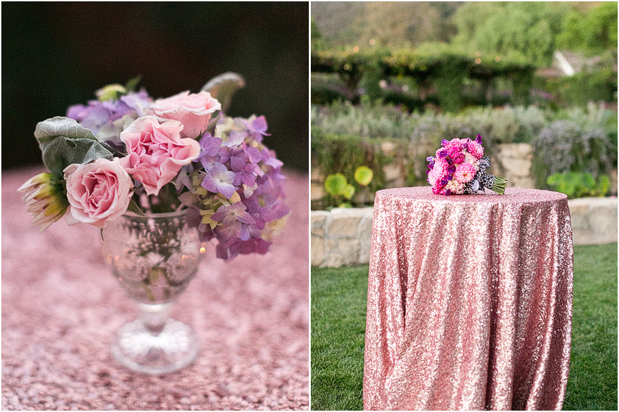 cocktail table with pink sequin tablecloth