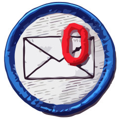 This is a vectorized graphic of a humourous nerd merit badge from www.nerdmeritbadges.com that depicts an inbox being empty.