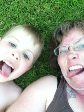 Silly faces in the backyard.