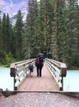 Kale and I heading off on the trail Berg Lake Trail, crossing the Robson River.