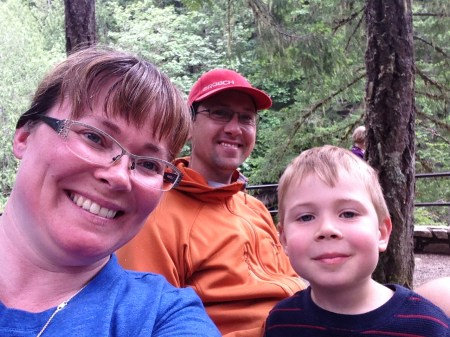 Post hike family bench lunch at the lower falls of Englishman River Falls.