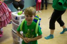 With his jetpack at music class party