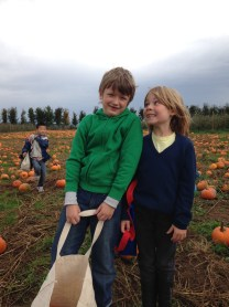 With Brady at the Pumpkin Patch