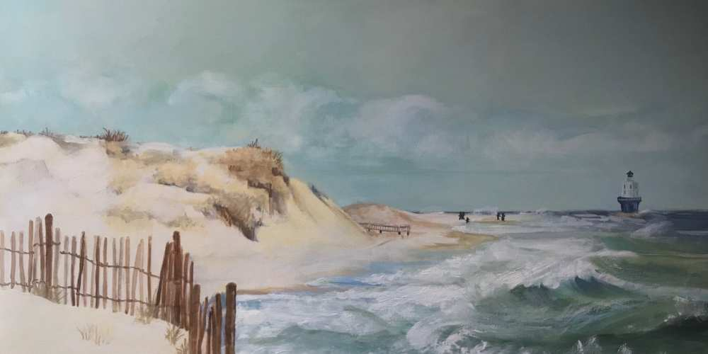 Artist Jen Bell's Cape Henlopen Beach Breakwater Lighthouse