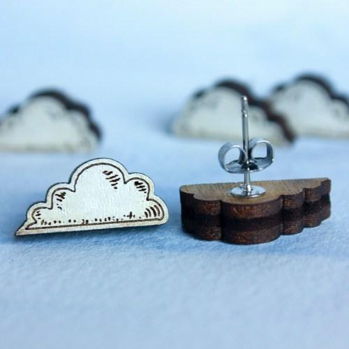 Laser cut white cloud earrings