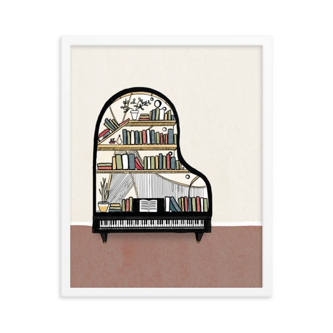 Illustration of an abstracted bookshelf as a grand piano