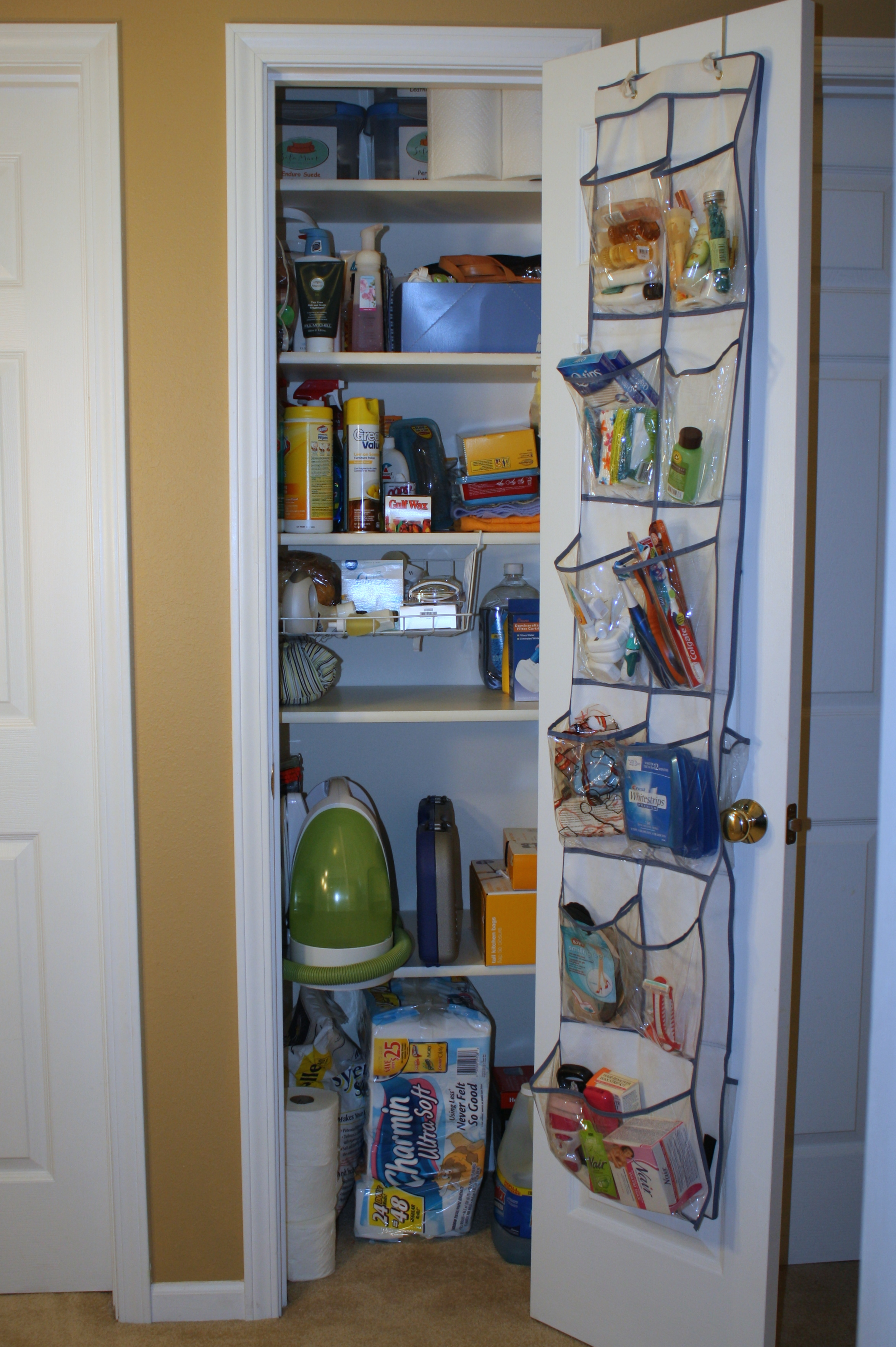 Organized Linen Closet. I Use Them To Store Cleaning Products, A Few  Bathroom Extras And A Few Other
