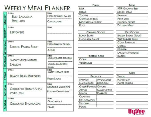 Weekly Meal Planner Example-Beef