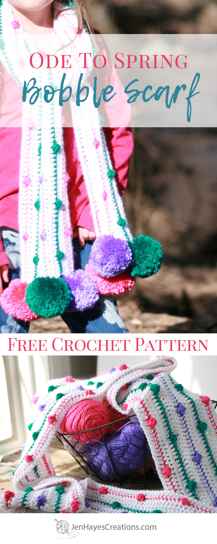 Ode to Spring Crochet Bobble Scarf | Jen Hayes Creations