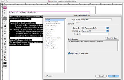 new paragraph style dialog
