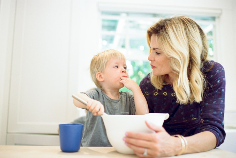 mom cooking with toddler