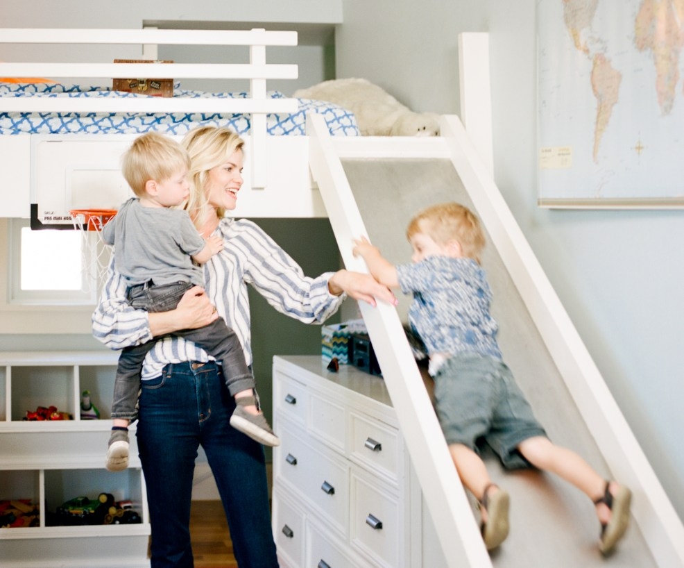 mom with boys in bedroom