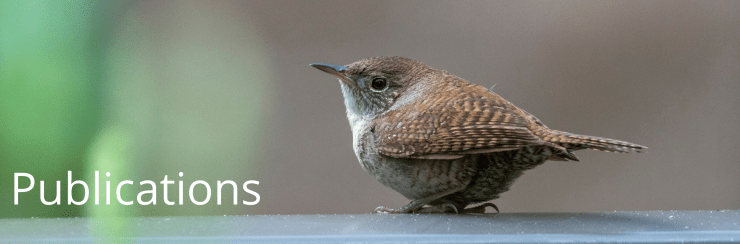 Small brown bird sitting on a railing with white text that reads: Publications