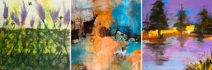 Three cropped snapshots of artwork to be displayed in the upcoming show. All three pieces are vibrant with orange, purple, and green paint. Some are abstract, some are landscapes.
