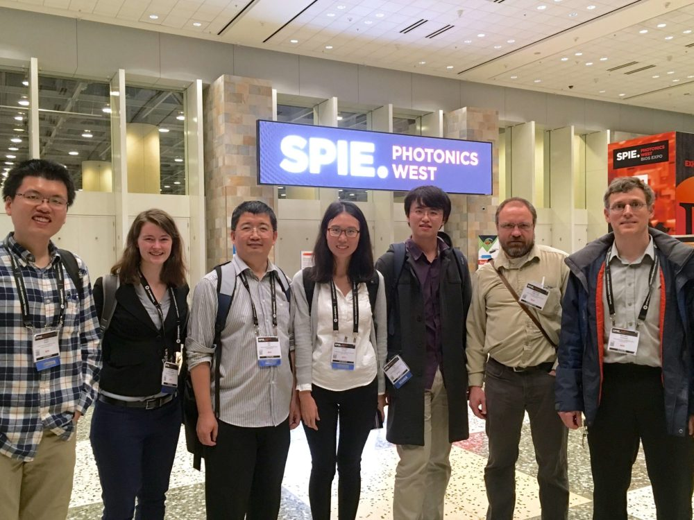 Dr. Andrew, Dr. Jenkins and student chapter members at SPIE Photonics West 2017