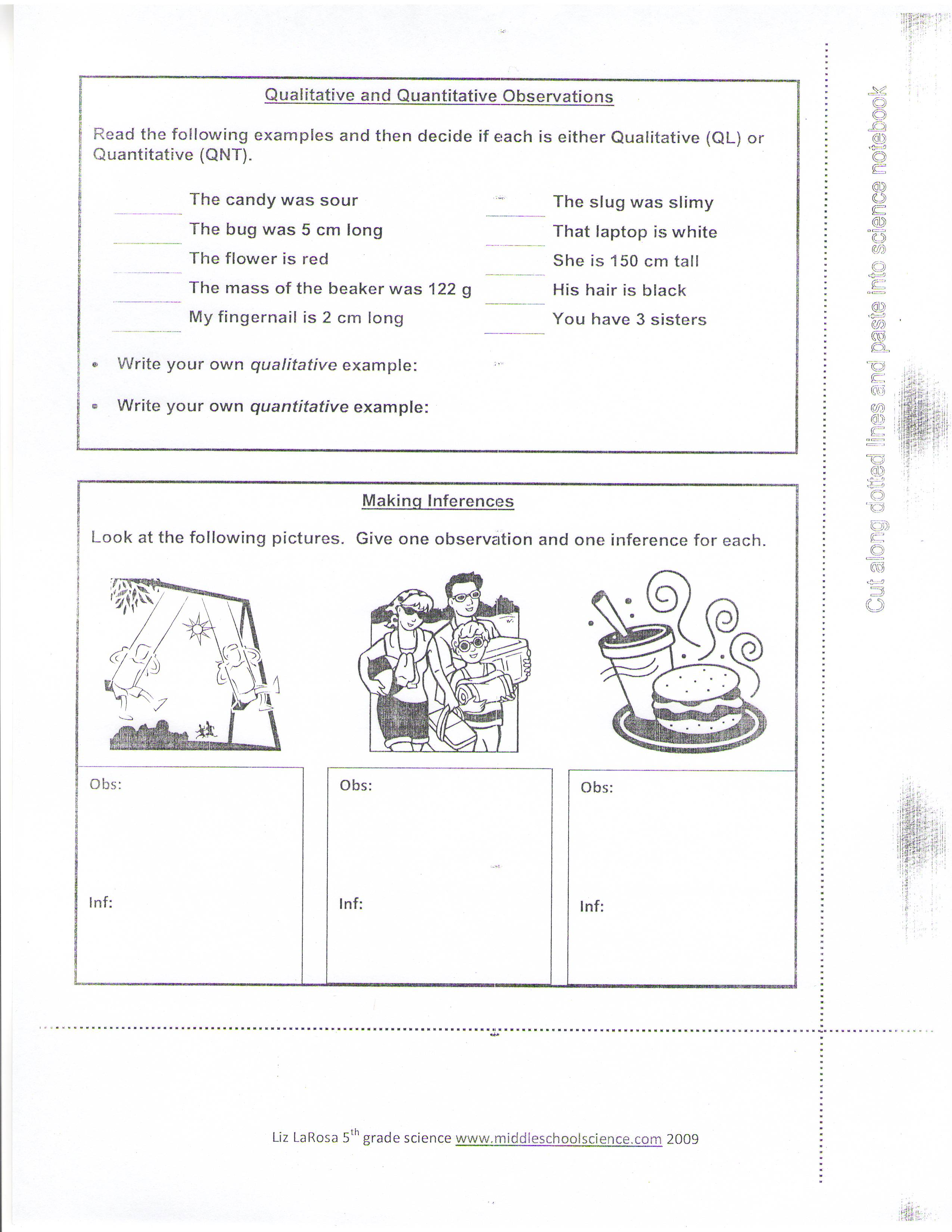 Worksheet Observations And Inferences Worksheet Grass Fedjp Worksheet Study Site
