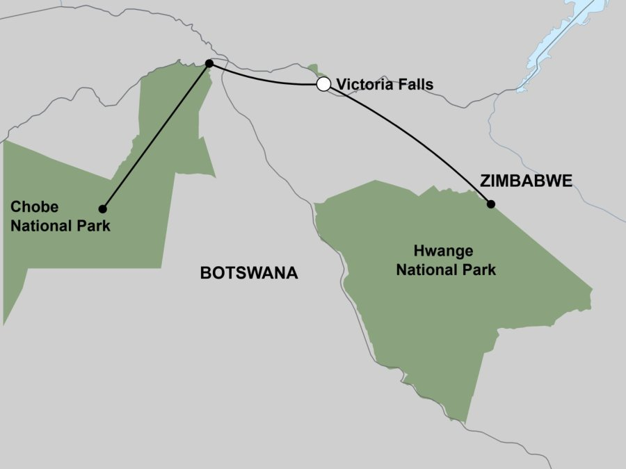 Chobe, Vic Falls & Hwange - Map