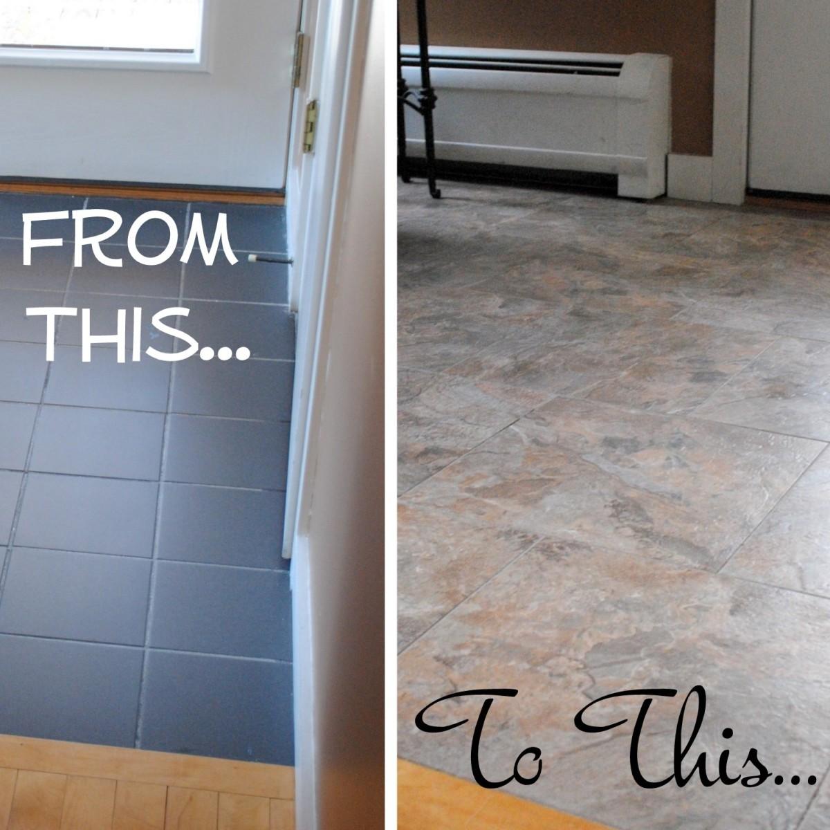 to install groutable vinyl floor tile