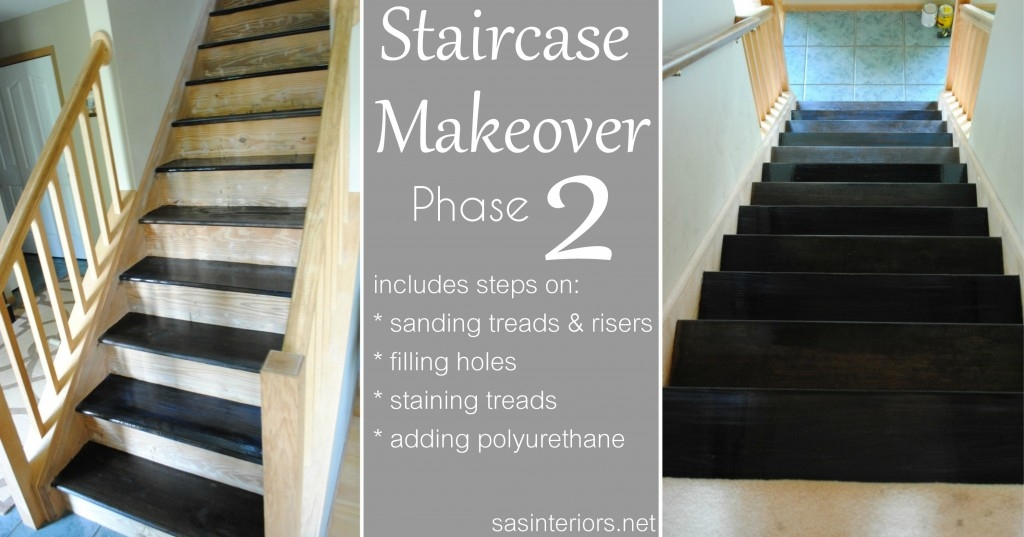 Staircase Makeover Filling Holes And Staining Treads Jenna | Carpet On Tread Only | Wood Stairs | Risers | Stair Tread | Hardwood | Staircase