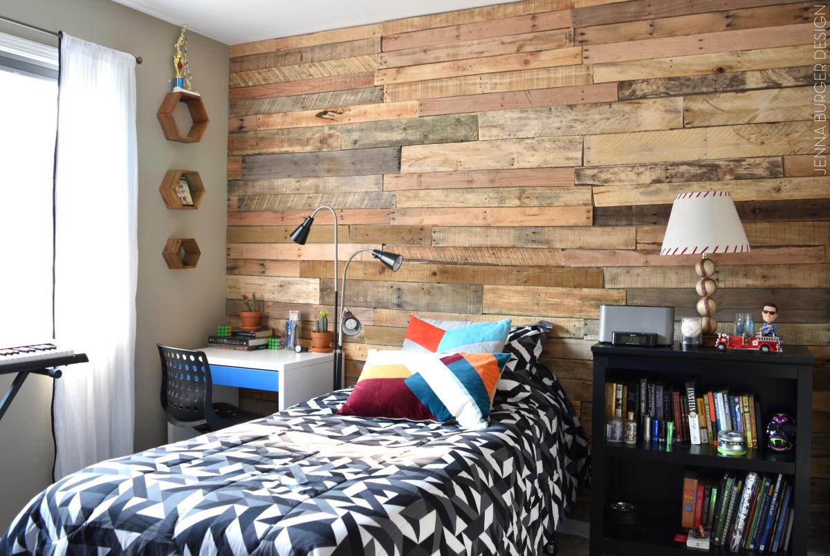 Modern, Rustic Teen Room + DIY Pallet Wall Tutorial ... on Pallet Bed Room  id=92146
