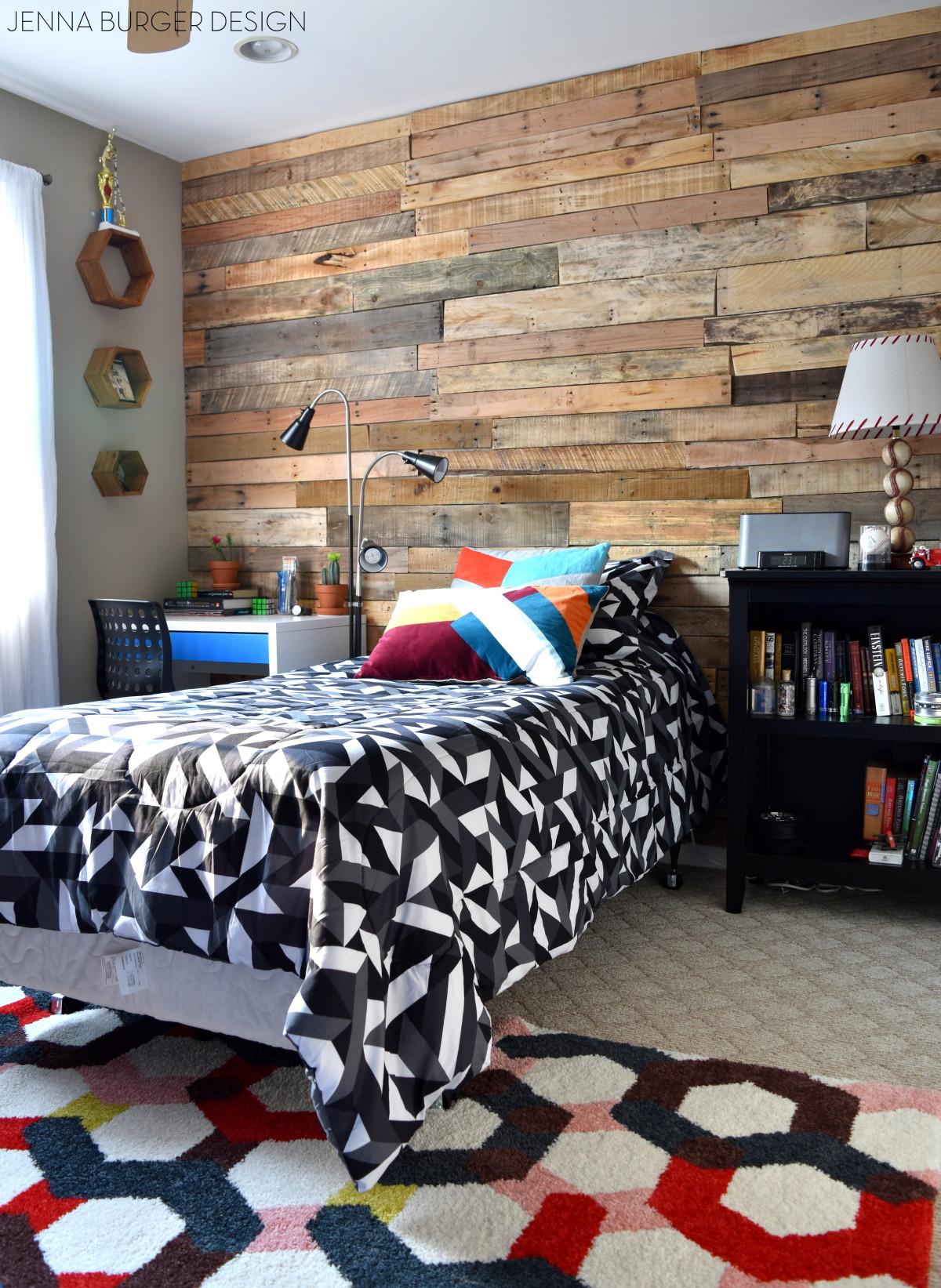 Modern, Rustic Teen Room + DIY Pallet Wall Tutorial ... on Pallet Room Ideas  id=98745