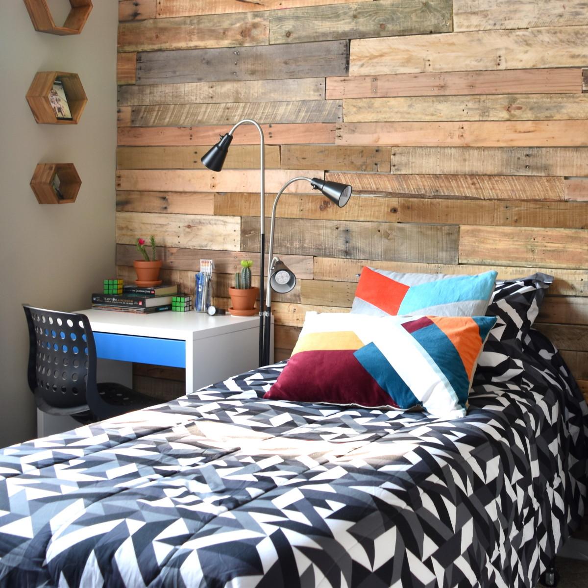 Modern, Rustic Teen Room + DIY Pallet Wall Tutorial ... on Small Room Pallet Bedroom Ideas  id=57668
