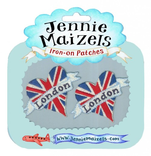London Heart pair of Iron-on Patches