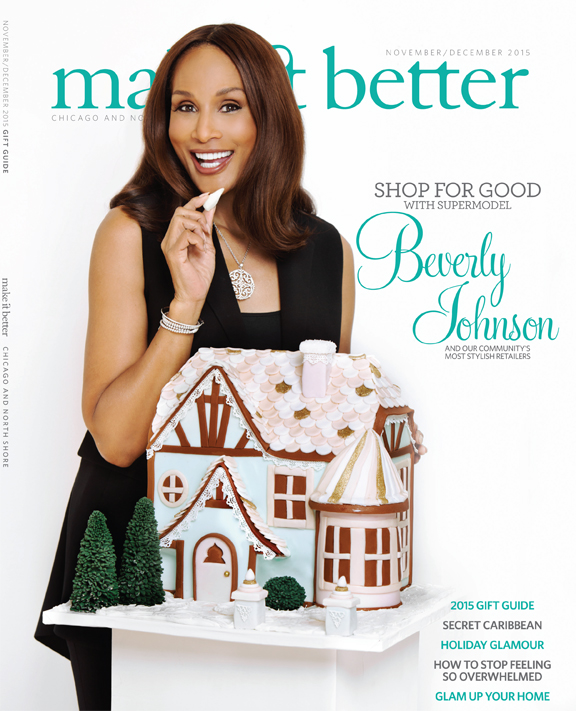 Super Model Beverly Johnson on the November/December Cover of Make It Better Magazine eating a ginger bread house