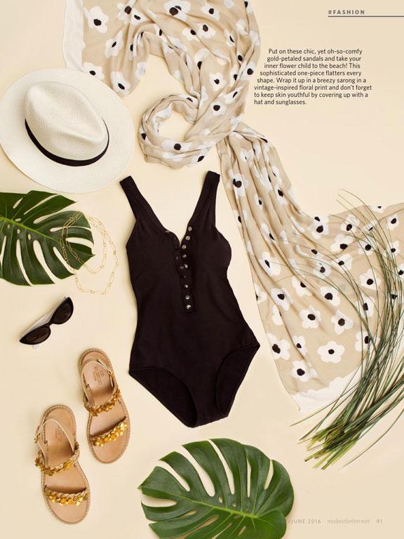 70s inspired beach fashion flatlay