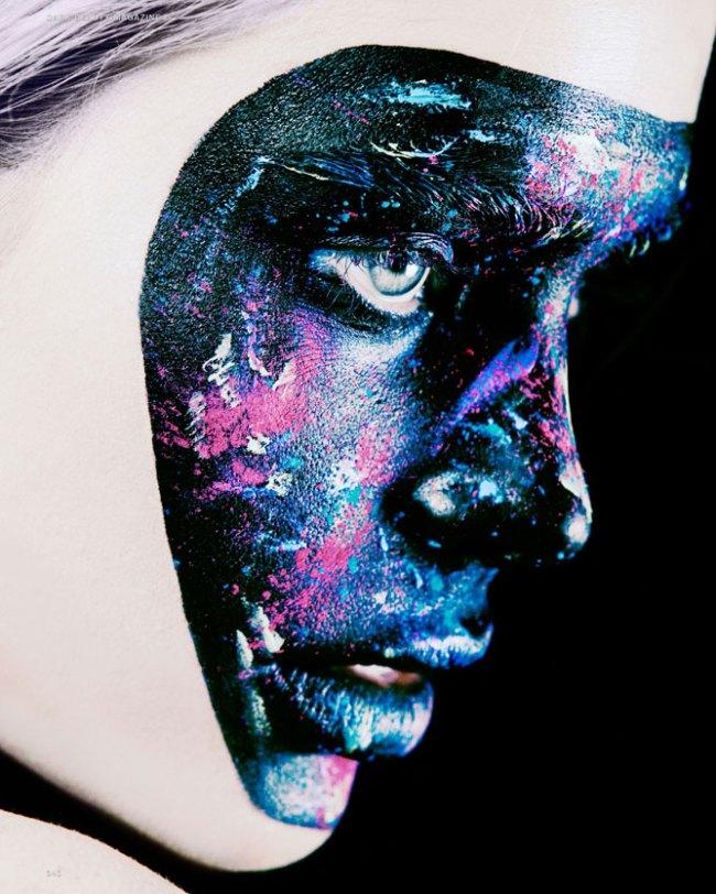 Black Face Mask on blue eyed girl