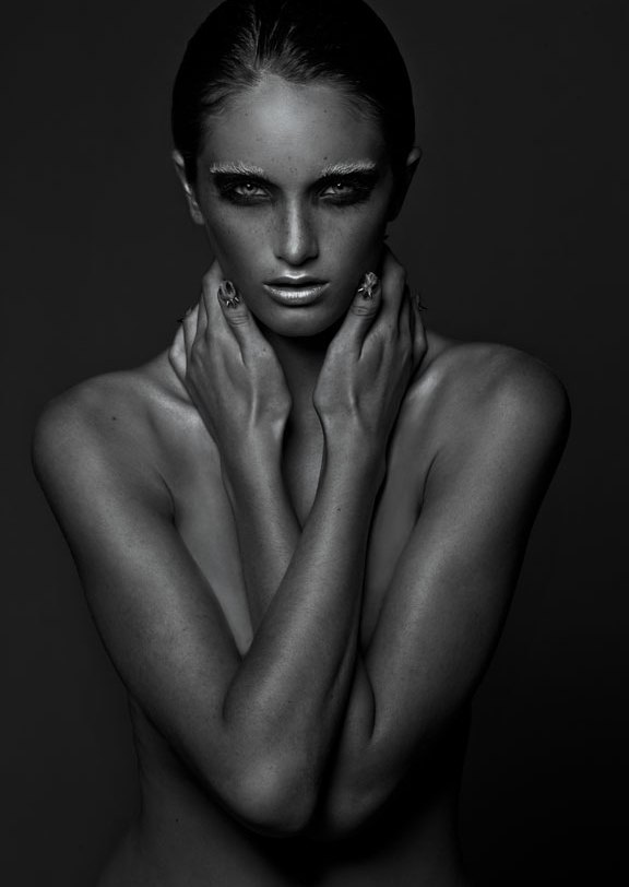 Dramatic Black and White implied Nude portrait