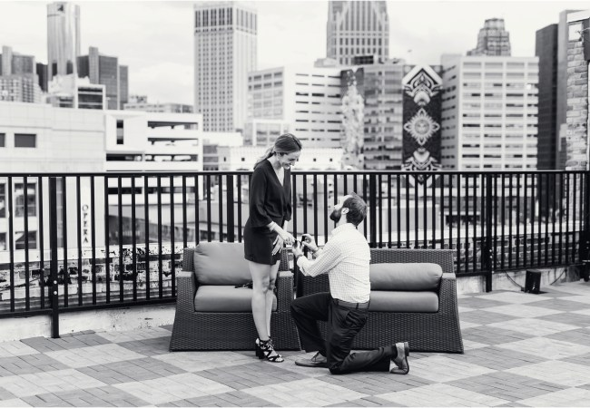 A Rooftop Wedding Proposal in Downtown Detroit | Laura & Chris