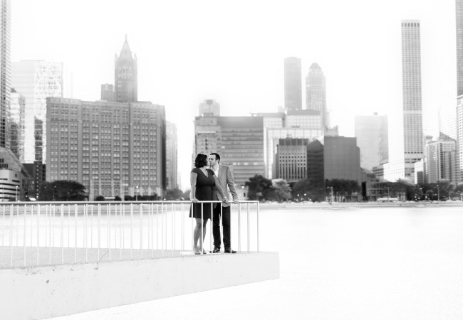 The Loop & Ace Hotel Rooftop Chicago Engagement Photos | Joy & Tyler