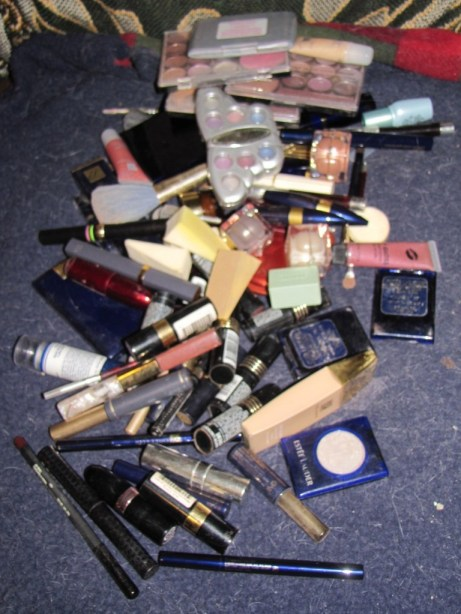 Pile of make-up before sorting