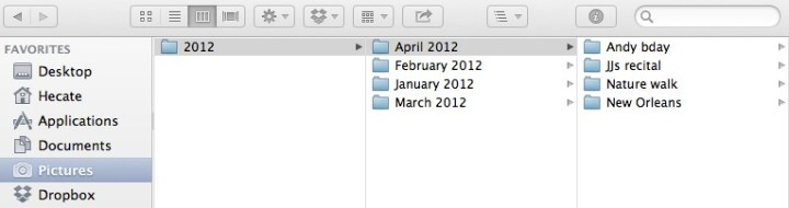 a chronological folder set-up