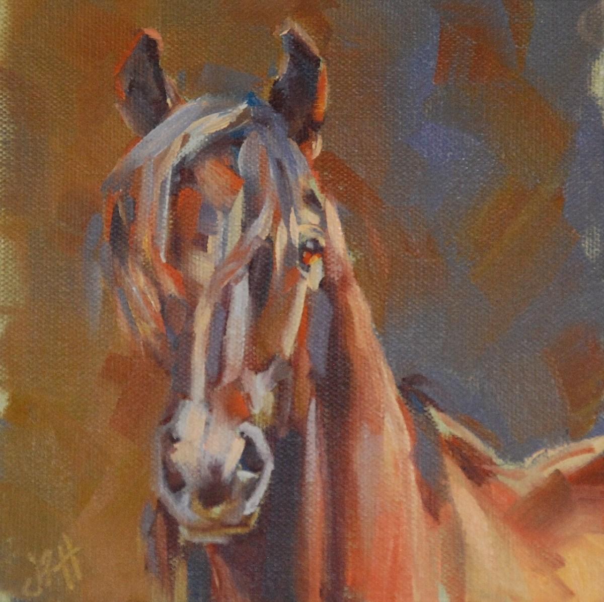 """Wild Child, 6""""x6"""" oil on canvas panel"""