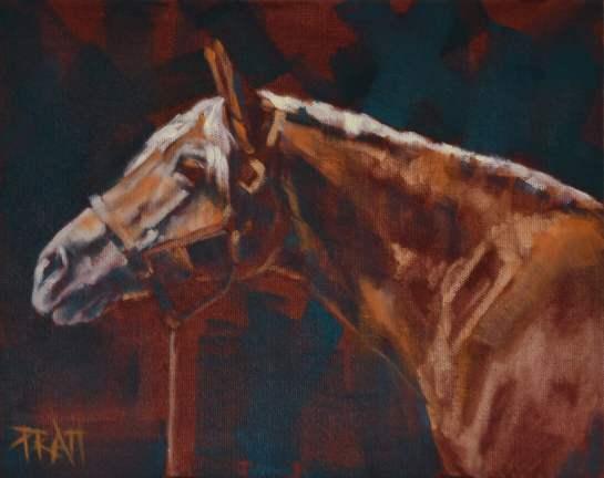haflinger, equine art, oil on panel,