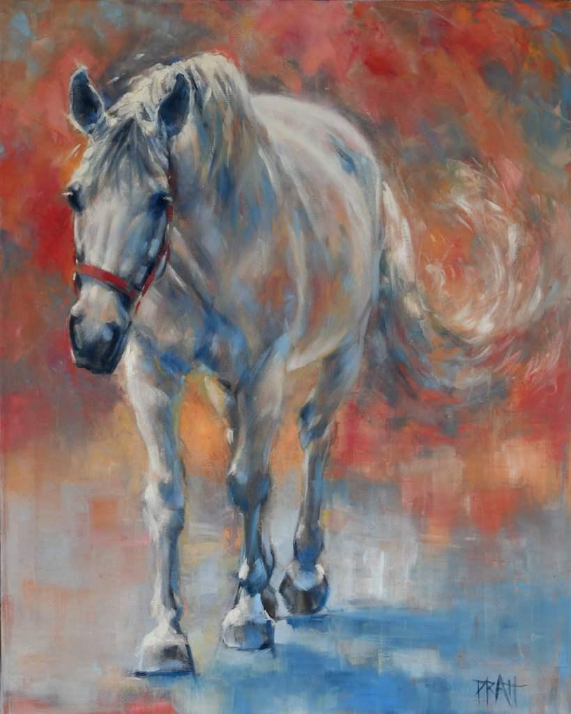 Equine art, horse art, Emerge Series, Jennifer Pratt, grey horse