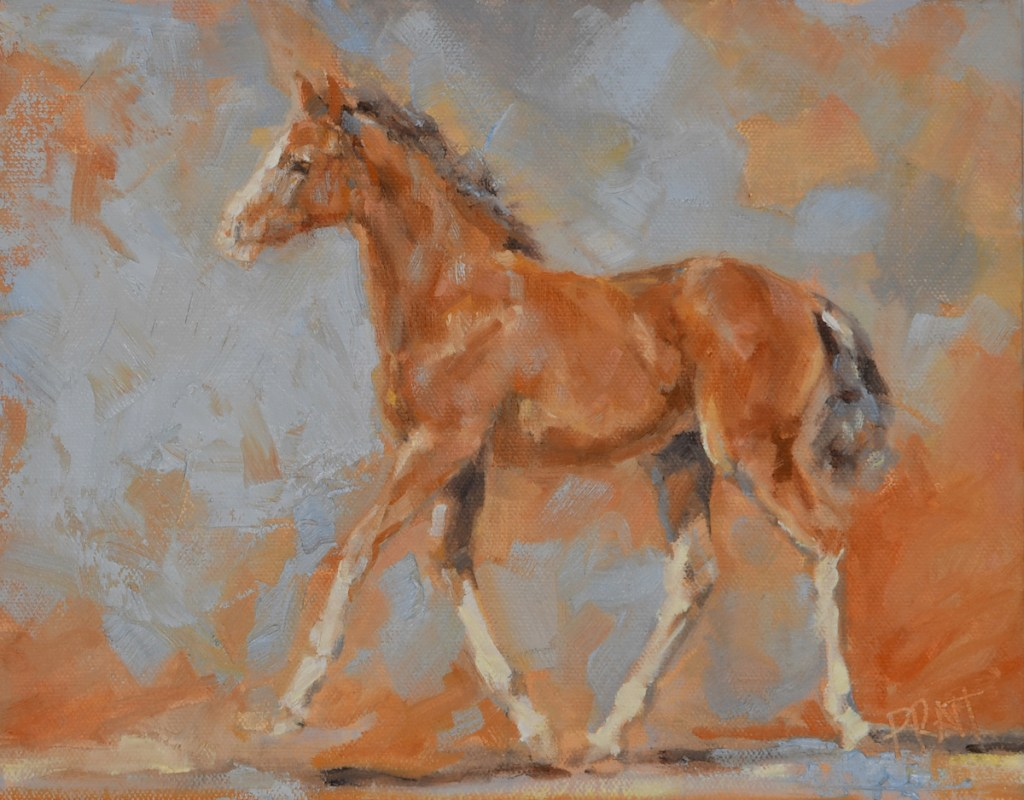 Equine art-horse art-foal-combined driving filly